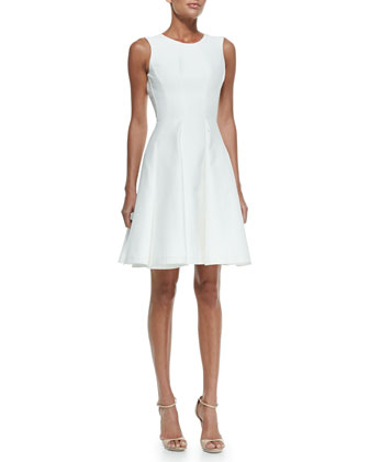 Scoop-Back Pleat-Front Dress, Magnolia