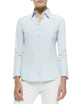 Stretch-Cotton Button-Front Blouse, Pale Blue