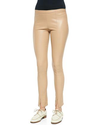Slit-Cuff Leather Leggings