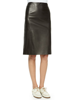 High-Waist Leather Skirt