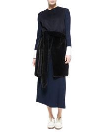 Long Mink Fur Vest with Fur Belt, Dark Navy