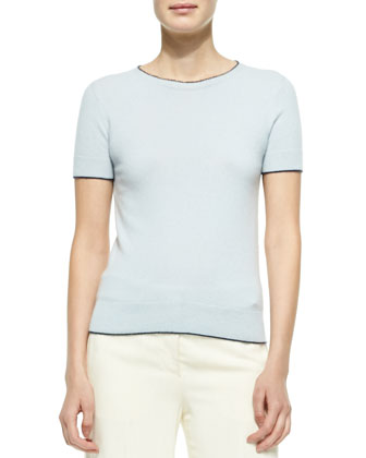 Cashmere Short-Sleeve Sweater, Pale Blue