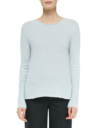 Cashmere/Silk Ribbed Pullover Sweater, Pale Blue