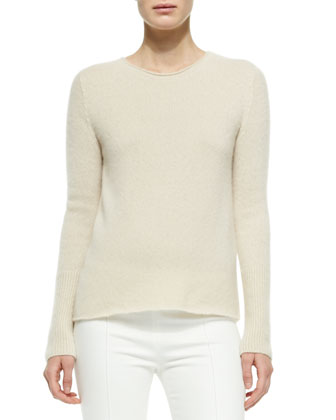 Cashmere/Silk Ribbed Pullover Sweater, Light Beige