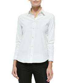 Stretch-Cotton Button-Front Blouse, White