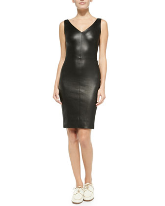 Fitted V-Neck Leather Dress, Black
