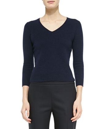 Wool/Cashmere Fitted V-Neck Sweater