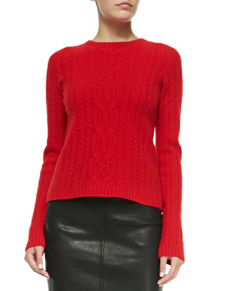 Wool/Cashmere Cable-Knit Sweater, Scarlet