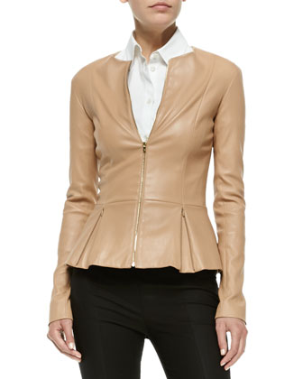 Front-Zip Leather Peplum Jacket