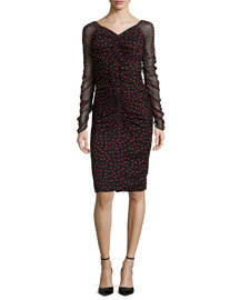 Long-Sleeve Ruched Polka-Dot Sheath Dress