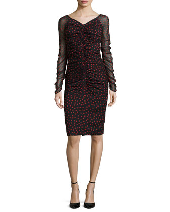 Long-Sleeve Ruched Polka-Dot Sheath Dress