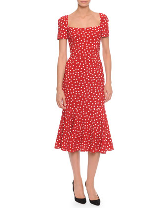 Square-Neck Midi Flounce Dress, Red/White