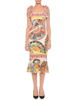 Tie-Strap Fan-Print Charmeuse Dress, Pink/Multi