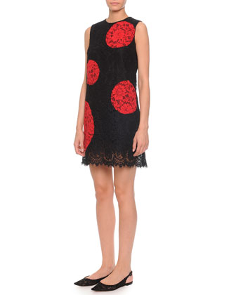 Oversize-Dotted Lace Shift Dress, Black/Red