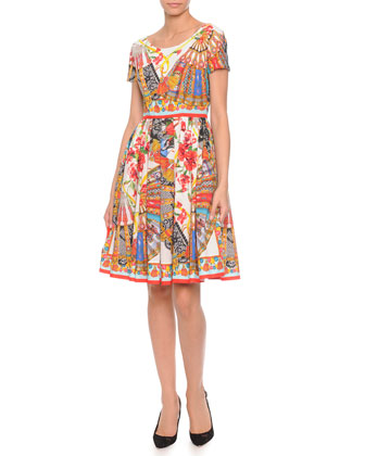 Fan-Print Pleated Poplin Dress