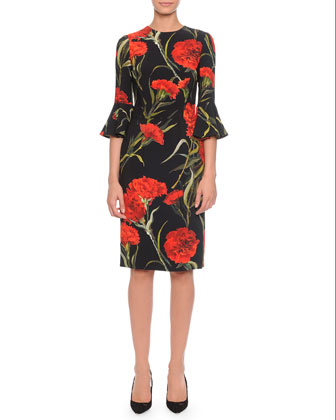 Bell-Sleeve Carnation-Print Dress, Black/Red