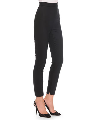 High-Waist Stretch-Wool Pants, Black