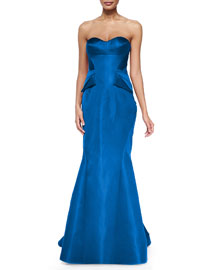 Strapless Split-Peplum Back-Pleat Gown, Cobalt