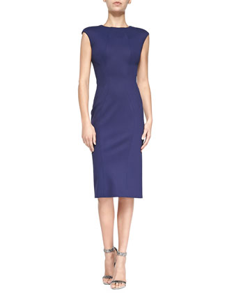 Sleeveless Jewel-Neck Fitted Dress, Navy