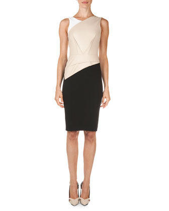 Arley Colorblock Perforated-Panel Dress, Beige/White/Black