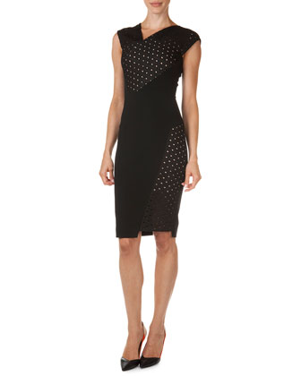 Affeton Embroidered Diamond Mesh Sheath Dress