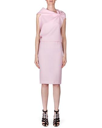 High-Waist Wool Crepe Pencil Skirt, Light Pink