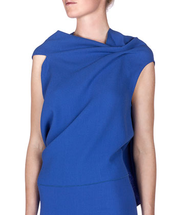 Eugene Drape-Front Open-Back Top, Blue
