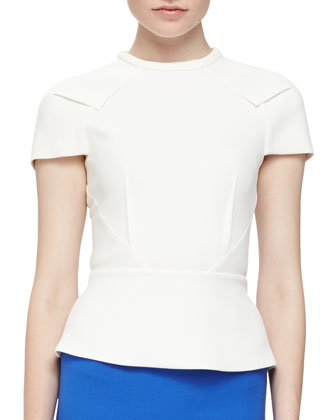 Cymatia Angled Peplum Top, Off White