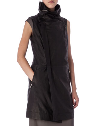 Zip-Front Lamb Leather Biker Vest