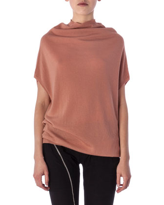 Cap-Sleeve Crater Shirt with Draped Neckline