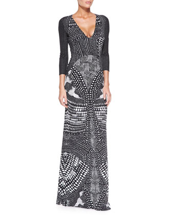 V-Neck Armadillo-Print Gown, Black/White