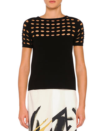 Circle Cutout Lace T-Shirt, Black