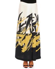 Brushstroke-Print Pleated Long Skirt, Black/Ochre