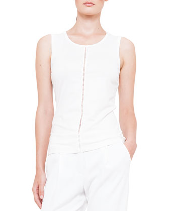 Hemstitched Jersey Tank Top, Cream