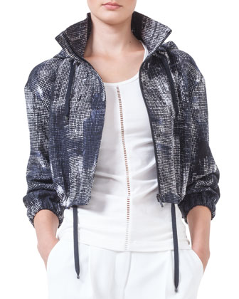 Hooded Pixel-Print Bolero Jacket, Blue-Marine/Creme