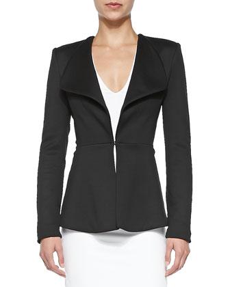 Shawl-Collar Jersey Jacket, Black