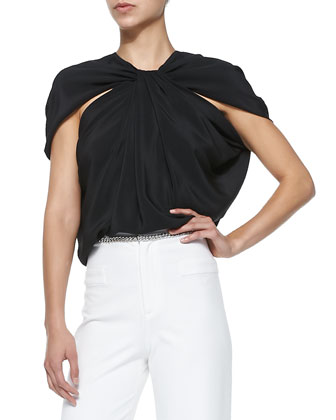 Crepe de Chine Cape-Shoulder Top, Black