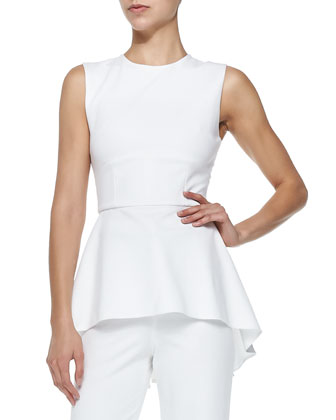 Oscar Jersey High-Low Peplum Top, White