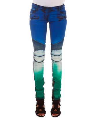 Slim-Fit Tie Dye Moto Jeans, Blue/White/Green