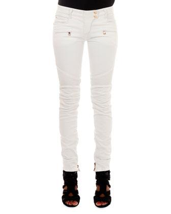 Slim-Fit Moto Jeans, White