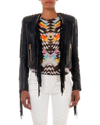 Leather Fringe Jacket, Black