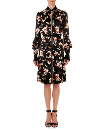 Oversize-Zipper Floral-Print Shirtdress