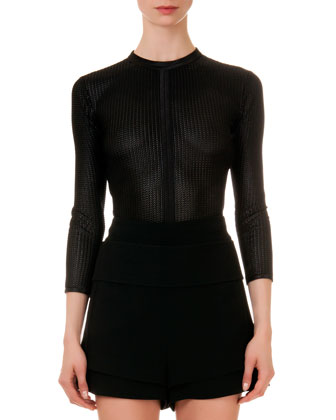 Mesh-Knit Round-Neck Top