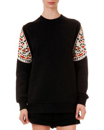 Printed-Sleeve Knit Sweatshirt