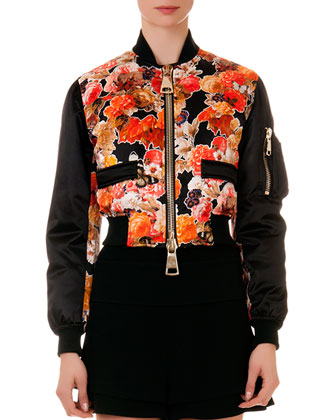 Floral-Print Oversize-Zip Cropped Jacket