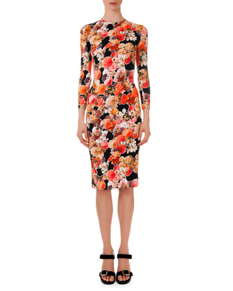 Floral-Print Fitted Jersey Dress