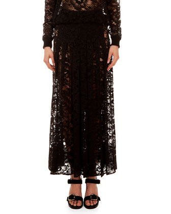 Long Sheer Lace Skirt