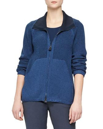 Cashmere-Blend Bicolor Chain-Knit Zip Cardigan