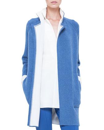 Cashmere Bicolor Open Sweater, Chefchaouen/Calcite