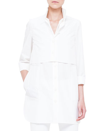 Two-In-One Layered Boyfriend Crop Top & Tunic, Calcite